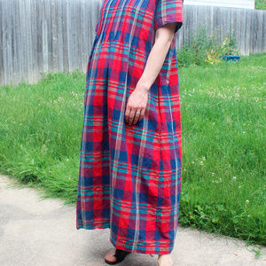 Vintage Oversized Plaid Summer Dress